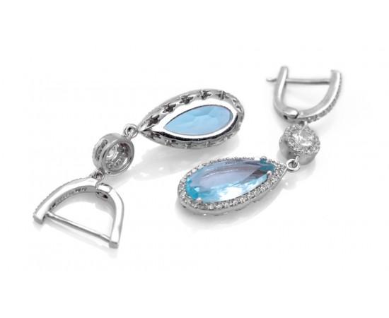 Mavi Topaz Kuvars Taşlı Gümüş Küpe