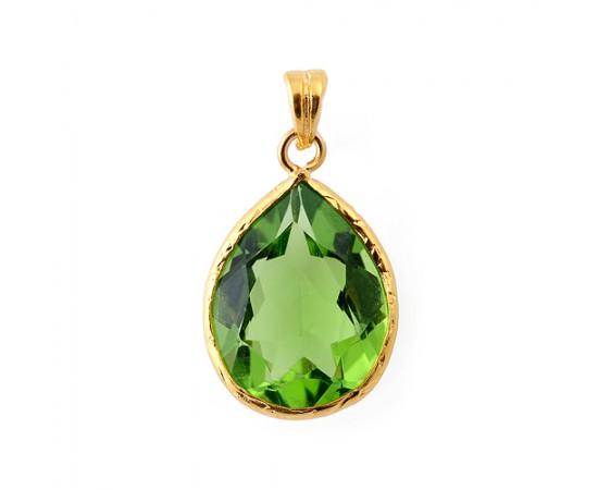 Altın Kaplama Zümrüt Yeşili Gümüş Kolye Ucu