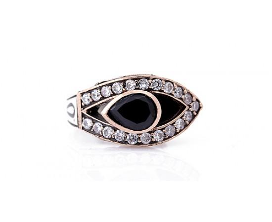 Oniks Taşlı Gümüş Göz Yüzük
