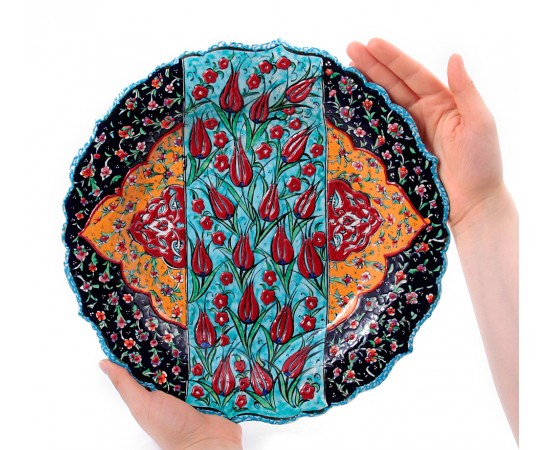 Dekoratif Seramik Tabak Lale Desenli 30cm