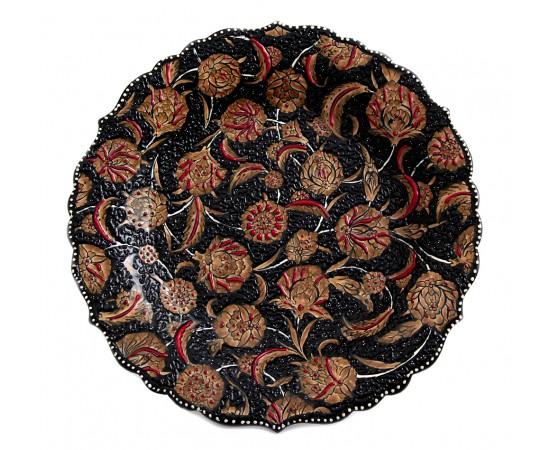 El Boyama Seramik Tabak Karanfil Desenli 30cm
