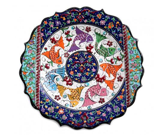 El Yapımı Seramik Tabak Balık Desenli 30cm