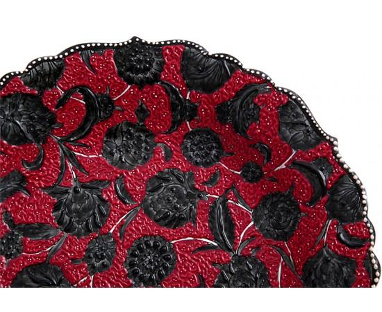 Kırmızı Seramik Tabak El Boyama Karanfil Desenli 30cm