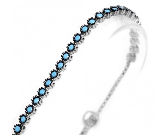 925 Ayar Nano Turkuaz Taşlı Su Yolu Gümüş Bileklik