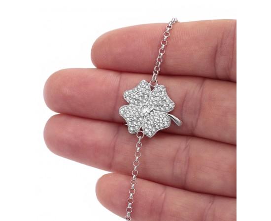 Gümüş Dört Yapraklı Yonca Bileklik