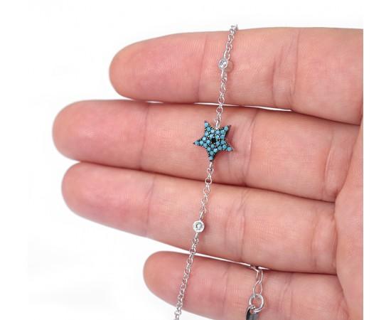 Gümüş Yıldız Bileklik Nano Turkuaz Taşlı