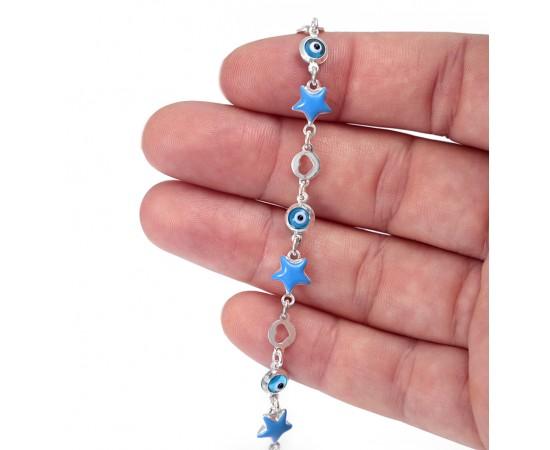 Mavi Yıldızlı Gümüş Çocuk Bileklik