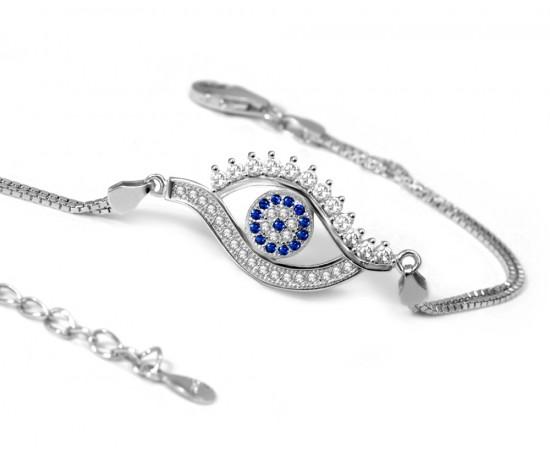 Nazar Boncuklu Göz Şeklinde Gümüş Bileklik