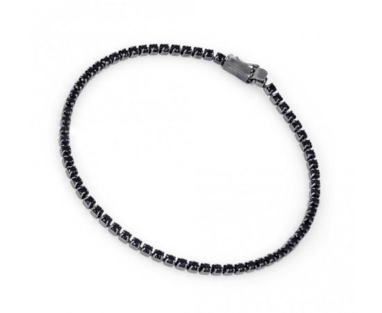Siyah Zirkon Taşlı Su Yolu Gümüş Bileklik