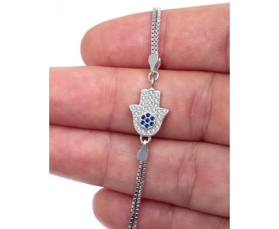 Zirkon Taşlı Fatma'nın Eli Gümüş Bileklik