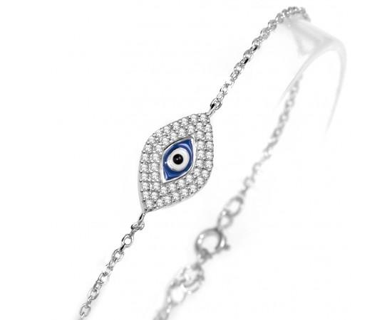 Zirkon Taşlı Göz Şeklinde Gümüş Bileklik