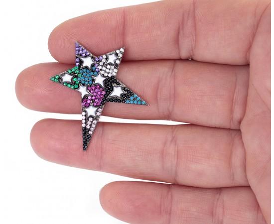 Büyük Yıldız Küpe Gümüş