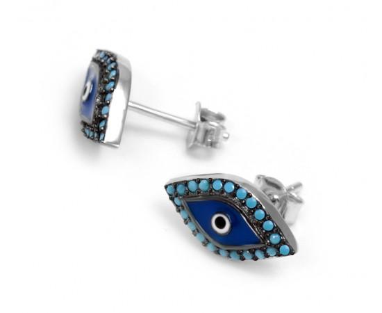 Nano Turkuaz Taşlı Göz Şeklinde Gümüş Küpe