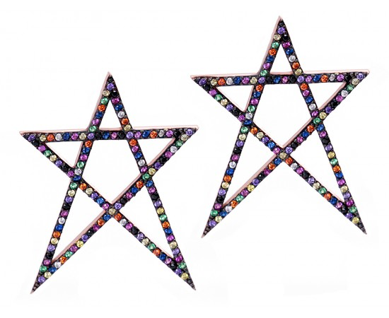 Taşlı Yıldız Küpe Gümüş