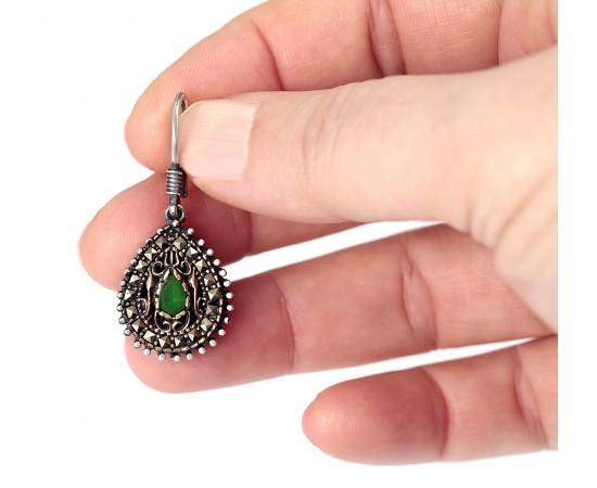Zümrüt Yeşili Gümüş Gözyaşı Küpe