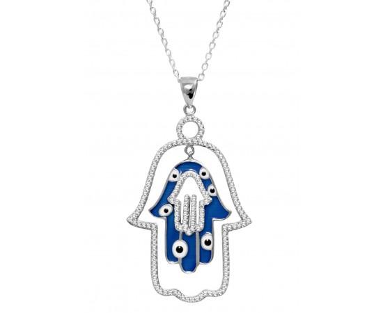 925 Ayar Gümüş Fatma Ana Eli Kolye