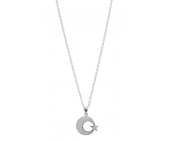Ay Yıldız Kolye Gümüş