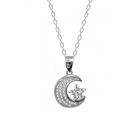 Gümüş Ay Yıldız Kolye