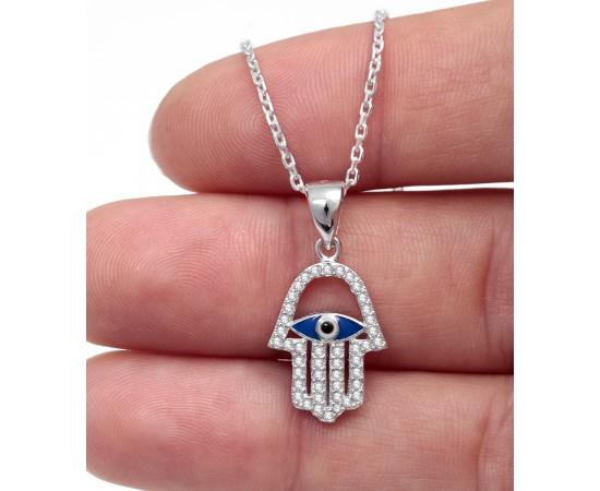 Gümüş Fatma Ana Eli Kolyesi