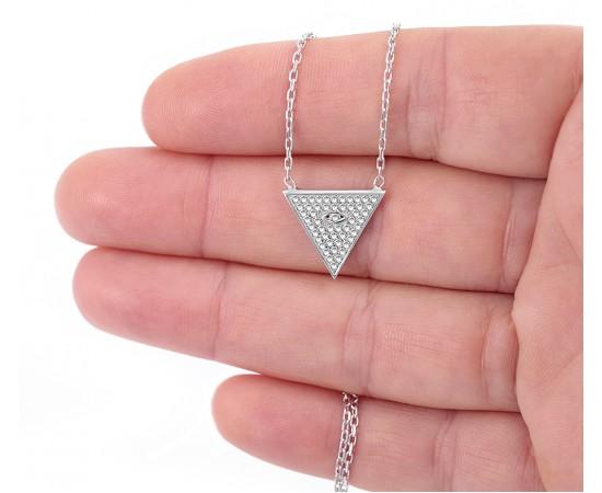Gümüş Piramit Kolye