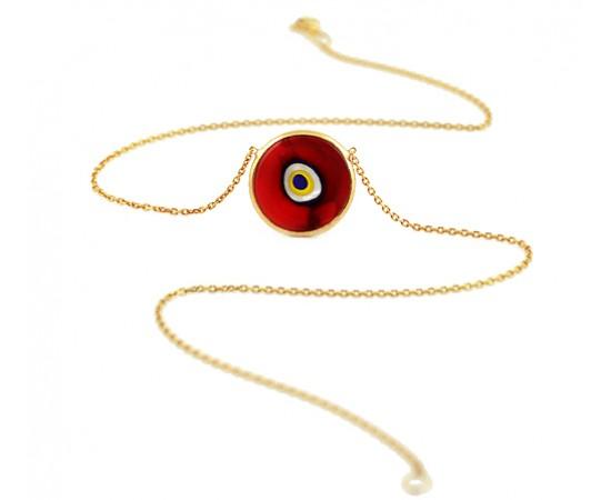 Kırmızı Nazar Boncuklu Kolye Gümüş