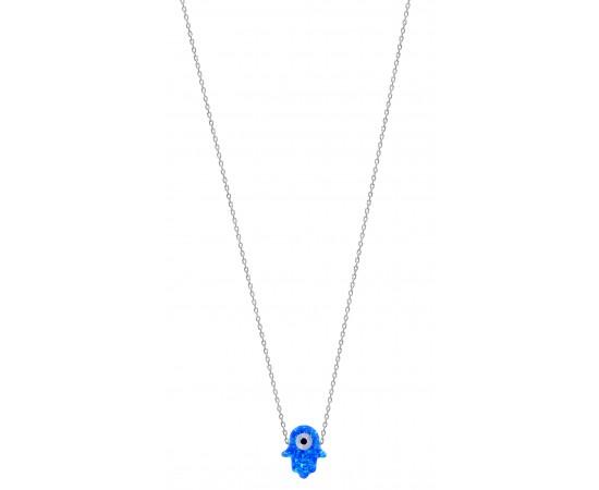 Mavi Opal Taşlı Fatma Ana Eli Kolye