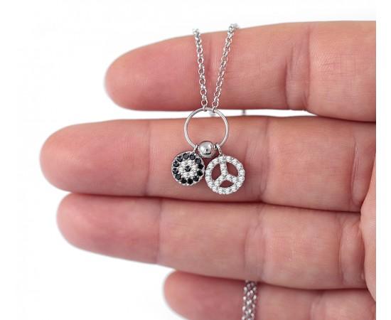 Peace Barış Sembollü Gümüş Kolye