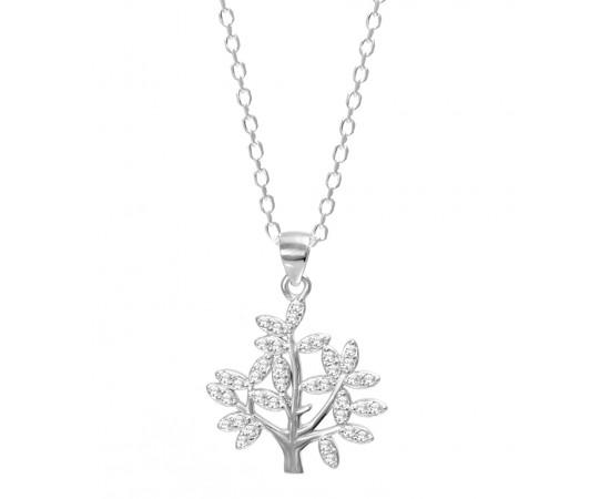 Zirkon Taşlı Ağaç Kolye Gümüş