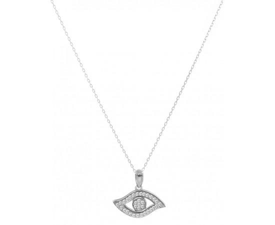 Zirkon Taşlı Gümüş Göz Şeklinde Kolye