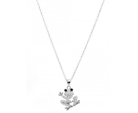 Zirkon Taşlı Gümüş Kurbağa Kolye