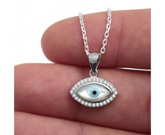 Zirkon Taşlı Sedef Gözlü Gümüş Kolye