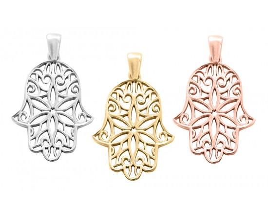 Ajurlu El Gümüş kolye Ucu