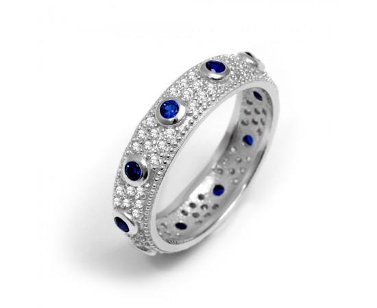 Mavi Safir Taşlı Gümüş Yüzük