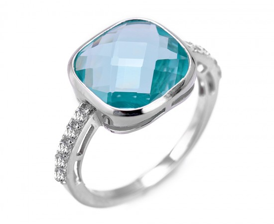 Mavi Topaz Kuvars Taşlı Gümüş Yüzük