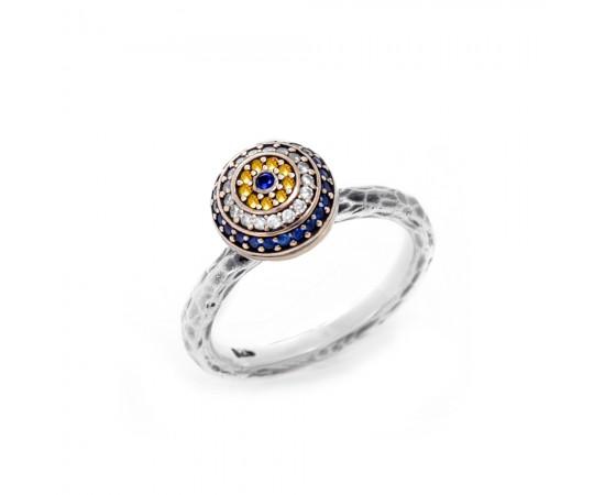 Nazar Boncuğu Gümüş Şans Yüzüğü